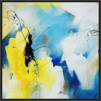 KINETICS I 28L X 28H Floater Framed Art Giclee Wrapped Canvas