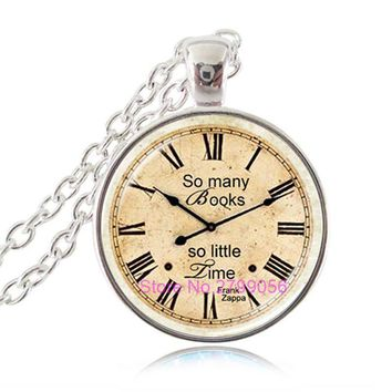So Many Books So Little Time Pendant Book Necklace