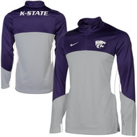 Nike Kansas State Wildcats Shootaround Quarter Zip Long Sleeve Performance T-Shirt - Purple/Gray