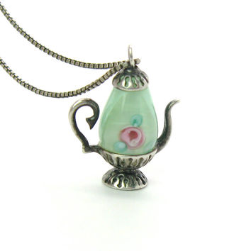 Teapot Pendant Necklace. Green Murano Satin Glass, Pink Roses, Sterling Silver Coffee Pot. Box Chain. 1970s Vintage Italian Tea Pot Jewelry