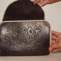 Vintage Tooled Leather Clutch Purse - Black Leather Boho Purse