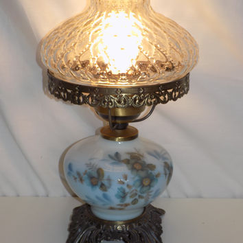 Hurricane Style Milk Glass Table Parlor Lamp by Accurate Castings Co
