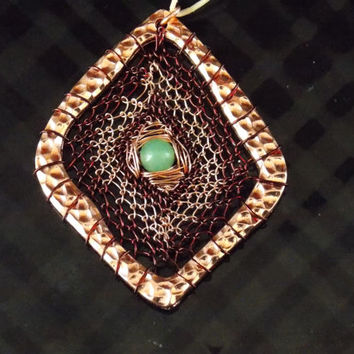 Dream Catcher Inspired Copper Pendant with Green Aventurine // Heady Wire Wrapped
