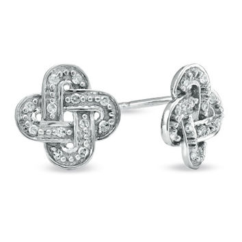 Diamond Accent Knot Earrings in 10K White Gold