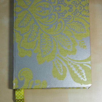 Handmade High Quality Notebook: Green Damask A5