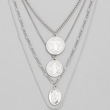 Multi Chain Layered French Coin Necklace