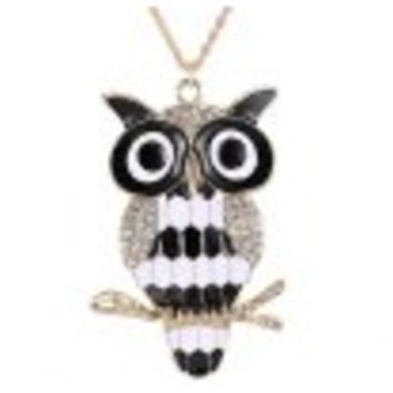 Rhinestone Owl Glazed Branch Pendant Sweater Chain - White And Black