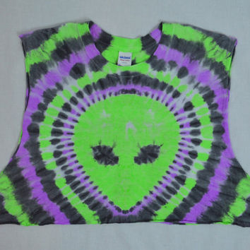 Psychedelic Alien Tie Dye Crop Top XL Hippie Trippy Shirt Womens handmade tie dye clothing cutoff shirt Neon Space galaxy ufo oversize