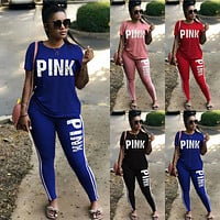 PINK Victoria's Secret Casual Print Shirt Top Tee Pants Trousers Set Two-piece Sportswear