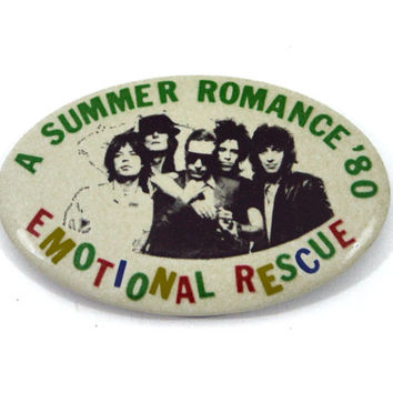 Vintage 80s The Rolling Stones A Summer Romance '80 Emotional Rescue Badge Pinback Button Pin