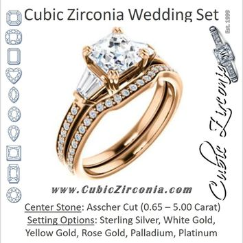 CZ Wedding Set, featuring The Hazel Rae engagement ring (Customizable Asscher Cut Design with Quad Baguette Accents and Pavé Band)