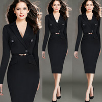 Hot New Spring 2016 Women's Office Dress Suit Collar Long Sleeve Solid Black Work Wear Winter Sexy Bandage Dress