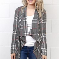 Waterfall Plaid + Suede Elbow Patch Cardigan {Grey Mix}