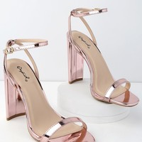 Reese Rose Gold Patent Ankle Strap Heels