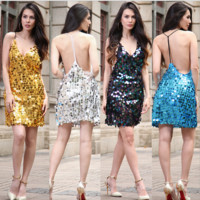 Fashion Sexy Solid Color Backless Sleeveless V-Neck Halter Sequin Mini Dress