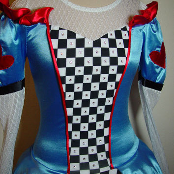 Ice Figure Skating Dress size Adult Small Alice in Wonderland Costume Swarovski crystals