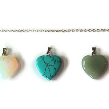 Three Heart Necklace, Gemstone Necklace, Turquoise Heart, Gemstone Heart, Three Hearts, Healing Necklace, Chakra Necklace, Girlfriend Gift