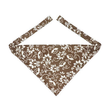 Dog Bandana, Brown Floral Pattern, Brown Dog Clothes, Brown Dog Accessory