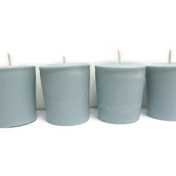 Old Country Road soy votive candles, light blue scented candles