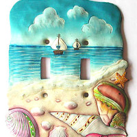 Switchplate Cover - Painted Metal Sand & Sea Shells - Switch Plate Covers