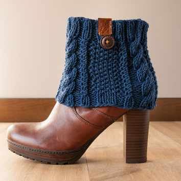 Teal and brown Boot Cuff with leather and wooden button trim, Cable Knit Boot Topper, Boots Socks, Faux Leg Warmers, Merino Boot toppers