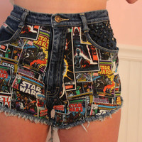 High Waisted Star Wars/ Comic Book Shorts Double by ThreadsByKelly