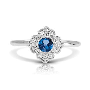 14k White Gold Couture Vintage Inspired Round Blue Sapphire & Diamond Ring