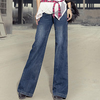 vintage bell-bottom mid waist slim butt-lifting boot cut wide leg flare women's jeans