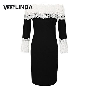 VESTLINDA Sexy A-Line Bodycon Lace Women Dress Off The Shoulder Long Sleeve Knee Length Women Fashion Dresses Office Ladies Robe