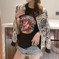 """Dior"" Women Fashion Print Long Sleeve Zip Cardigan Coat"