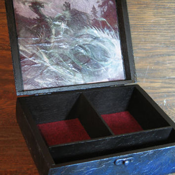 Magic: The Gathering Planeswalker Deck Box, Handmade, MTG, Metalic Blue, Ugin