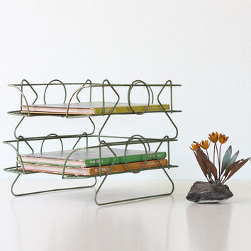 Vintage Stacking Baskets, Retro Green In / Out Baskets