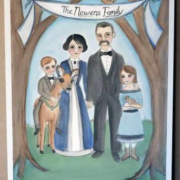 Custom Family Portrait Illustration - Victorian and Edwardian Inspired Watercolor Portrait Paintings