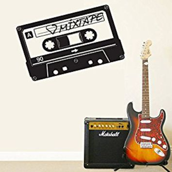 Wall Decal Vinyl Sticker Decals Art Decor Design cassette with Music Sign Mixtare LoveHeart Rockstar Style Dorm Bedroom (r349)