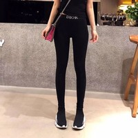 DCCK6HW Dior' Women Casual Fashion All-match Embroidery Letter Cotton Thickened Leggings Trousers Sweatpants