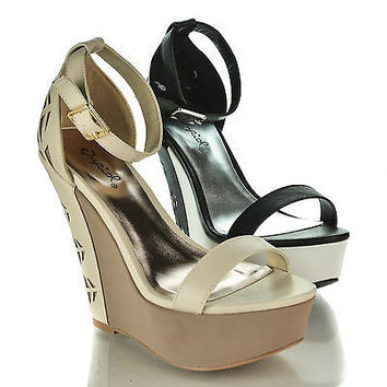 Finder248 Open Toe Two Toned Perforated Ankle Strap Platform Wedge Heel Sandals