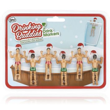 Festive Holiday Drinking Buddies Drink Markers