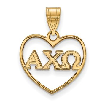 14K Plated Silver Alpha Chi Omega Heart Pendant