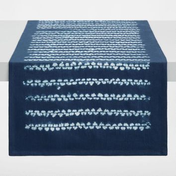 Natural Indigo Shibori Stripe Table Runner
