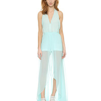 Mint Green Halterneck Backless Maxi Dress