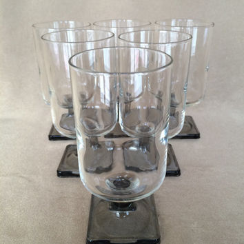 Danish Wine Glasses, Federal Glass, Nordic Midnight, Smoke Square Base, Danish Modern Design, 60s Scandinavian,