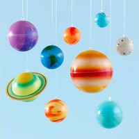 The Land of Nod: Kids' Banners & Hanging Décor: Kids Colorful Hanging Glow in the Dark Solar System Kit in All Room Decor