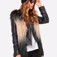 Ombre Color Faux Fur Vest Jacket