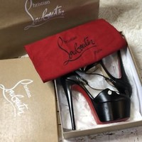 sz 7.5 38 Christian Louboutin Amyada Black Leather Platform Sandal Pump W/ Box