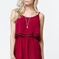 LA Hearts Bobble Trim Overlay Romper - Womens Dress - Red