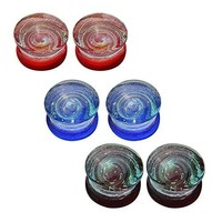 BodyJ4You Plugs Glass Saddle Hypnotic Spiral Ear Gauges 0G Piercing Jewelry Set 6PCS