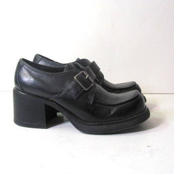 Vintage black vegan chunky oxfords buckle shoes // women's loafers size 8.5