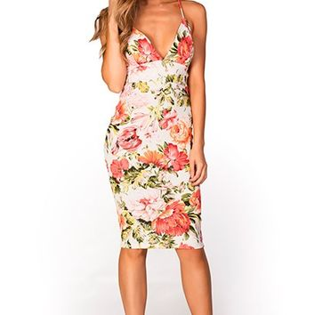 Lucille White Coral and Neon Orange Floral Print Strappy Bodycon Dress