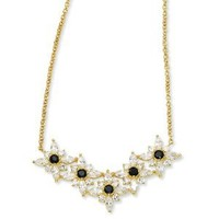 Gold-plated Sterling Silver Blk/Wht CZ Floral 18in Necklace