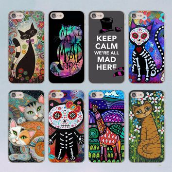 folk art cat design transparent clear hard case cover for Apple iPhone 6 6S 6Plus 7 7Plus 5 5s SE 5C